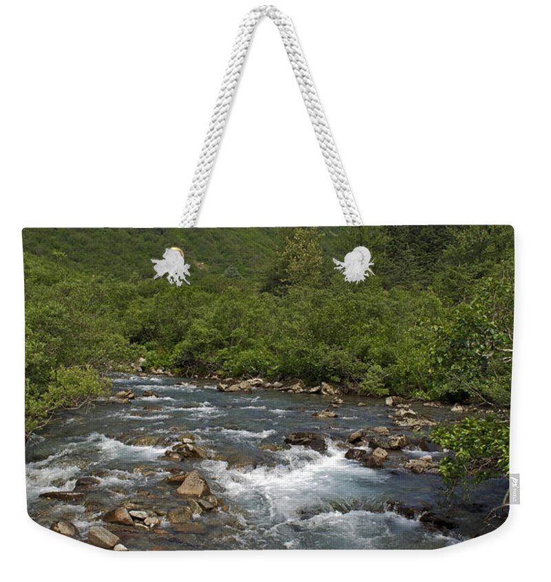 Gold Creek Weekender Tote Bag featuring the photograph Mountain Stream by Cathy Mahnke