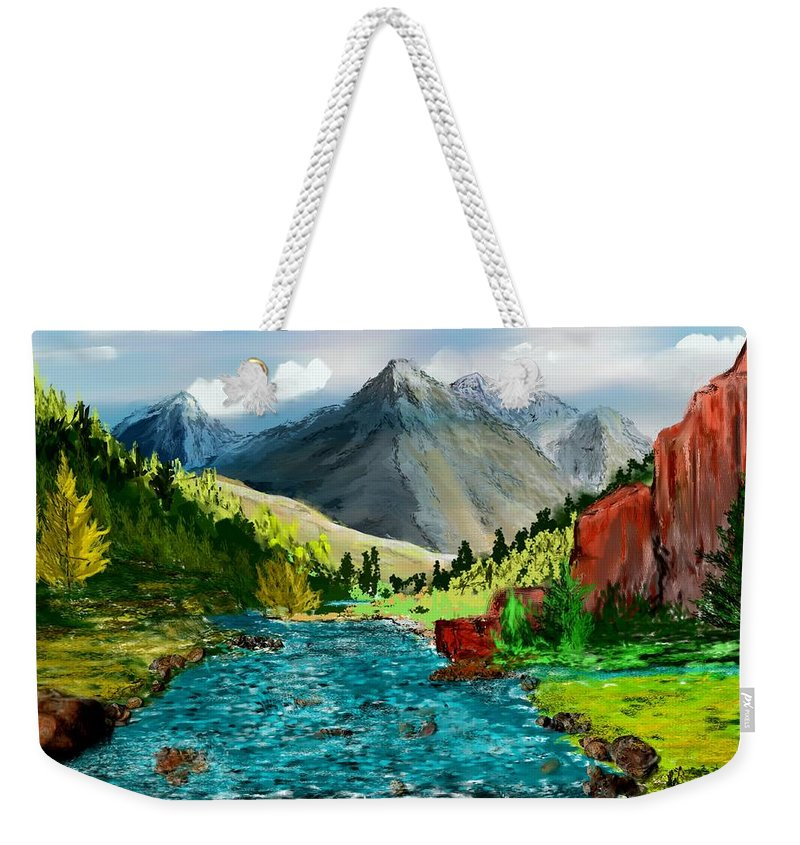 Nature Weekender Tote Bag featuring the digital art Mountain Stream by David Lane
