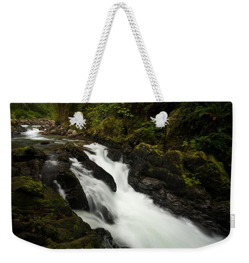 Stream Weekender Tote Bag featuring the photograph Mountain Stream by Mike Reid