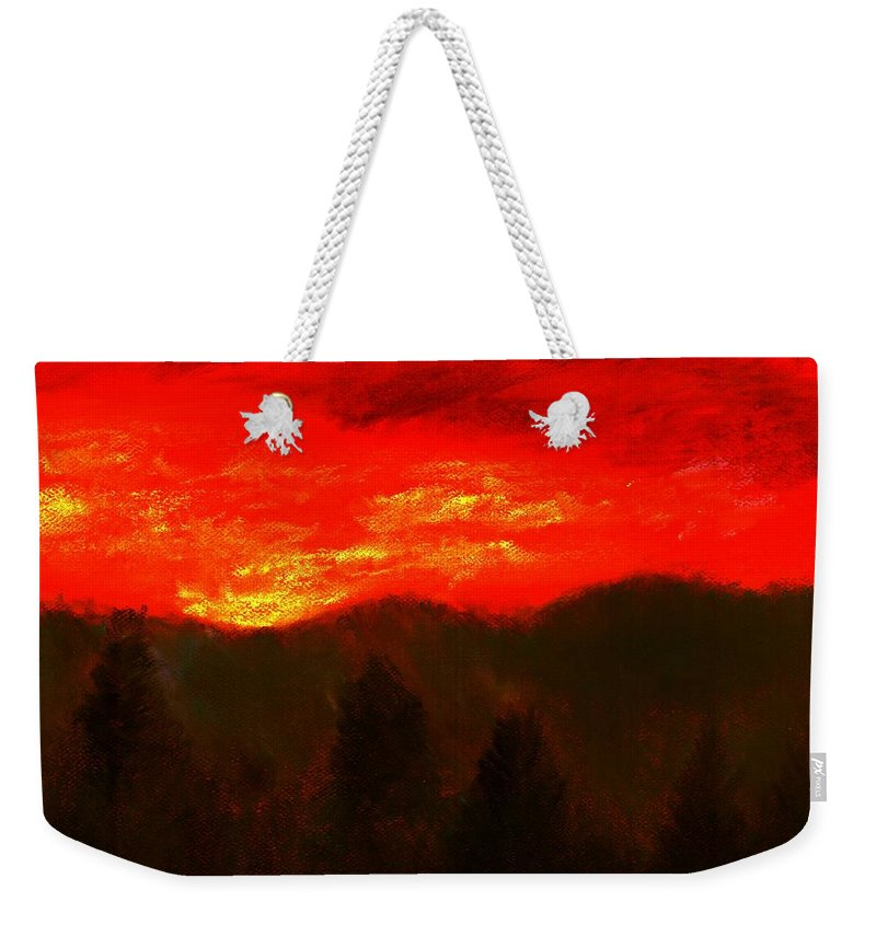 Mountain Weekender Tote Bag featuring the pastel Mountain Sunset by Melvin Moon