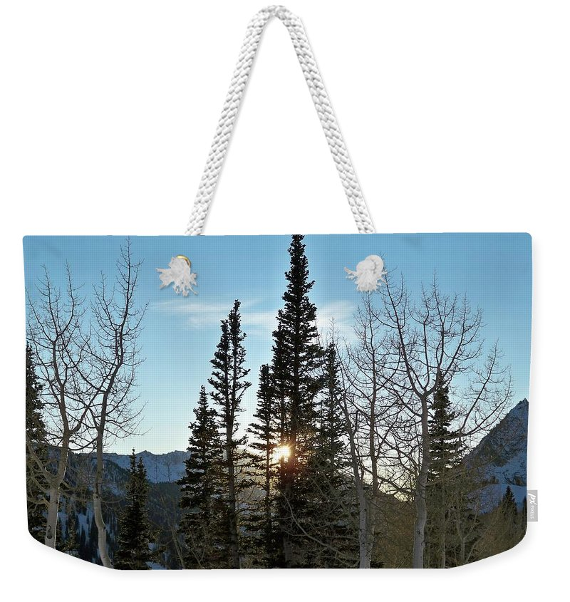 Rural Weekender Tote Bag featuring the photograph Mountain Sunset by Michael Cuozzo
