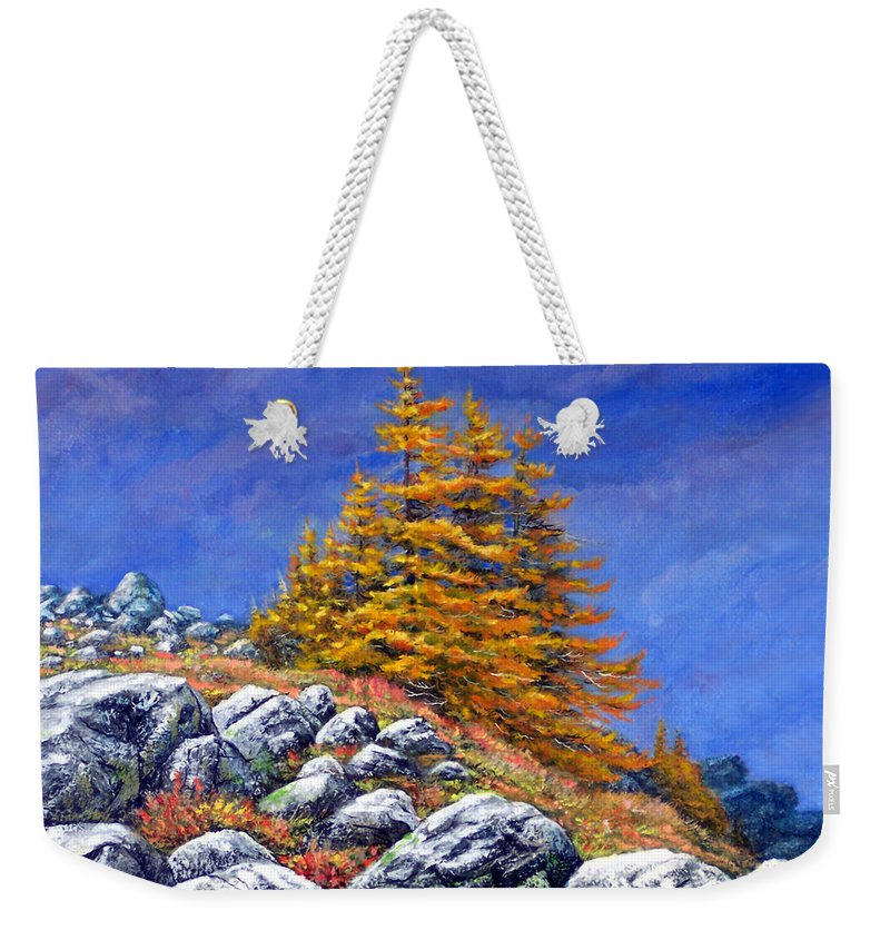 Mountains Weekender Tote Bag featuring the painting Mountain Tamaracks by Frank Wilson