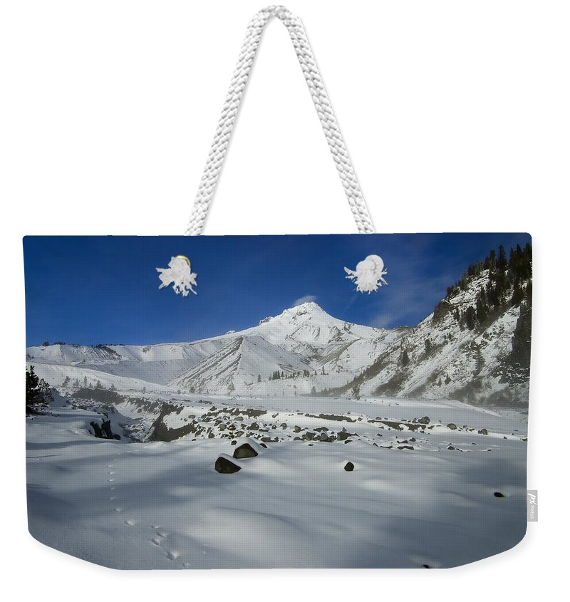 Mt. Hood Weekender Tote Bag featuring the photograph Mountain Tracks by Mike Dawson
