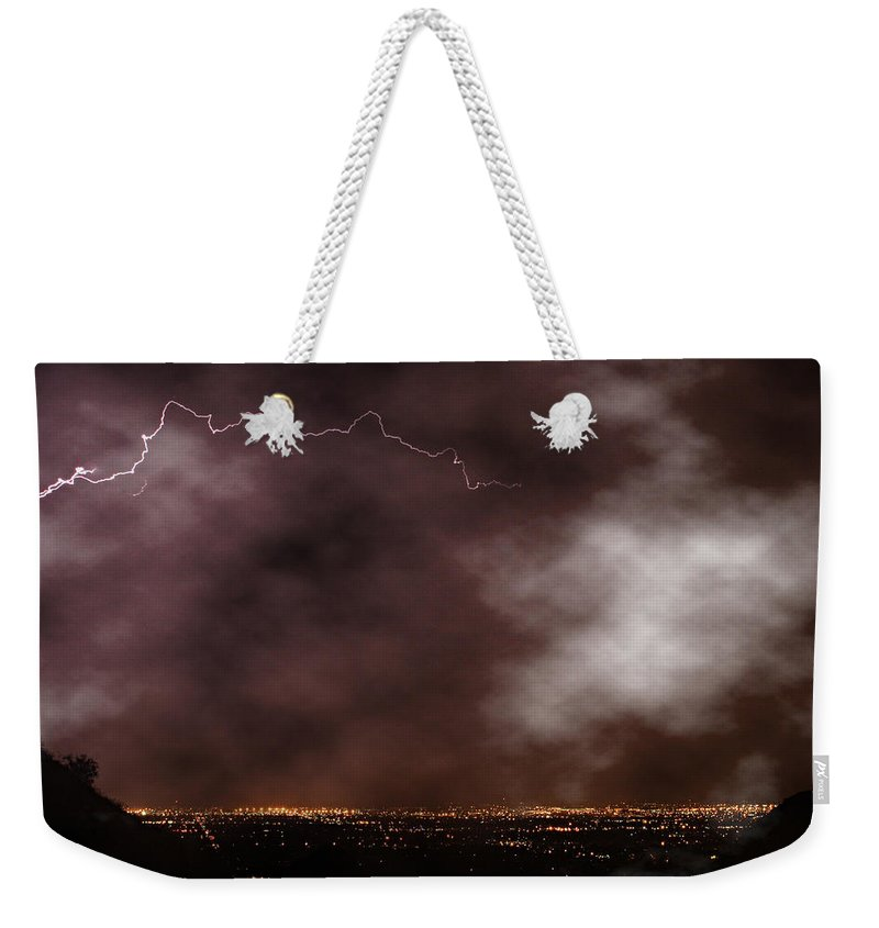 Lightning Weekender Tote Bag featuring the photograph Mountain View by James BO Insogna