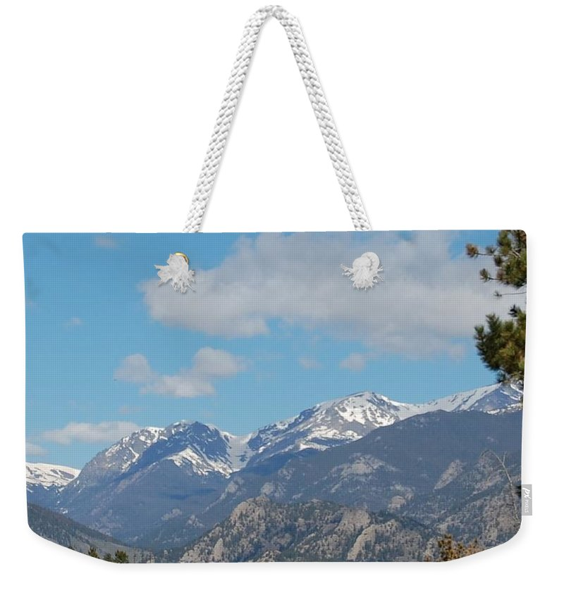 Landscape Weekender Tote Bag featuring the photograph Mountain View by Linda Benoit