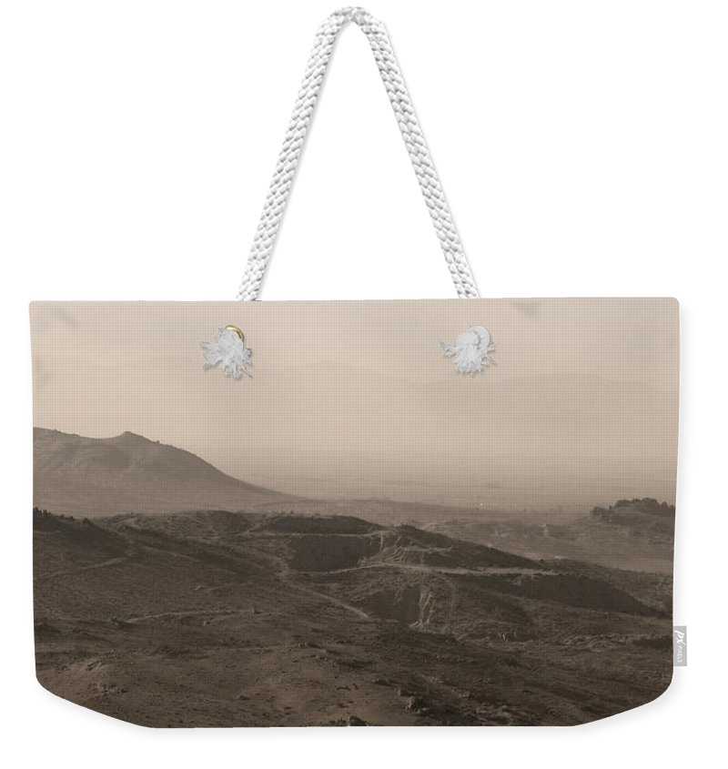 Mountain View Weekender Tote Bag featuring the photograph Mountain View of Mohave Desert in Sepia by Colleen Cornelius