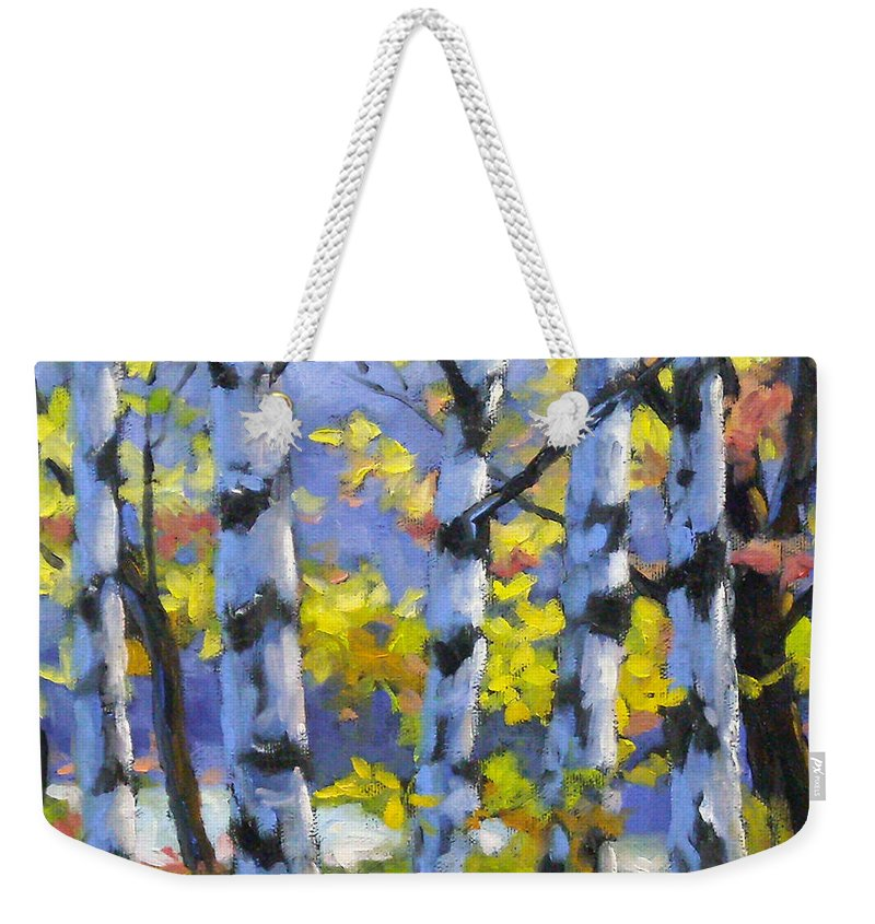 Art Weekender Tote Bag featuring the painting Mountain View by Richard T Pranke