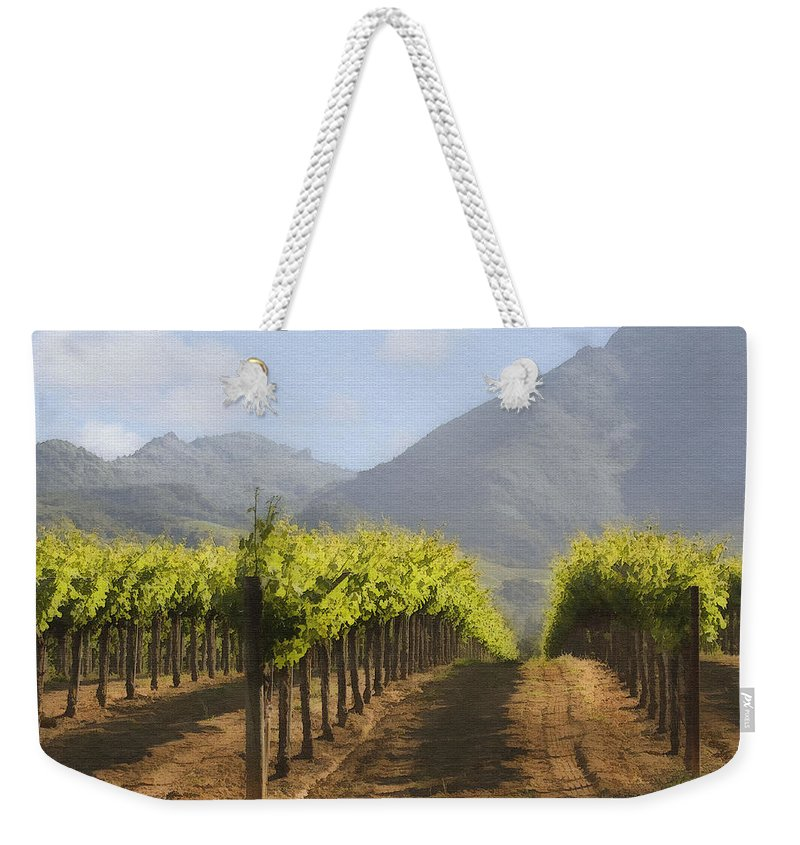 Mountain Weekender Tote Bag featuring the digital art Mountain Vineyard by Sharon Foster