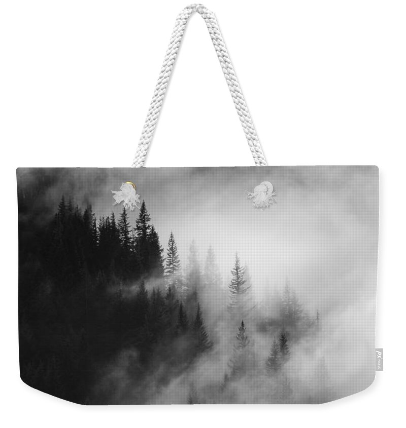 Forest Weekender Tote Bag featuring the photograph Mountain Whispers by Mike Dawson