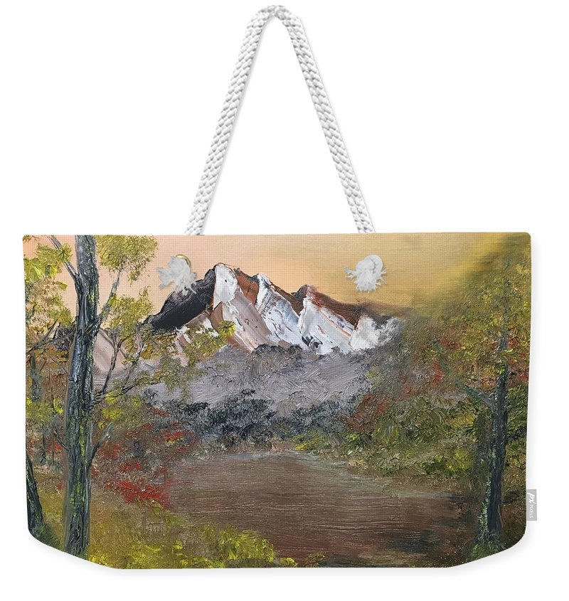 Mountain Weekender Tote Bag featuring the painting Mountains Afar by David Bartsch