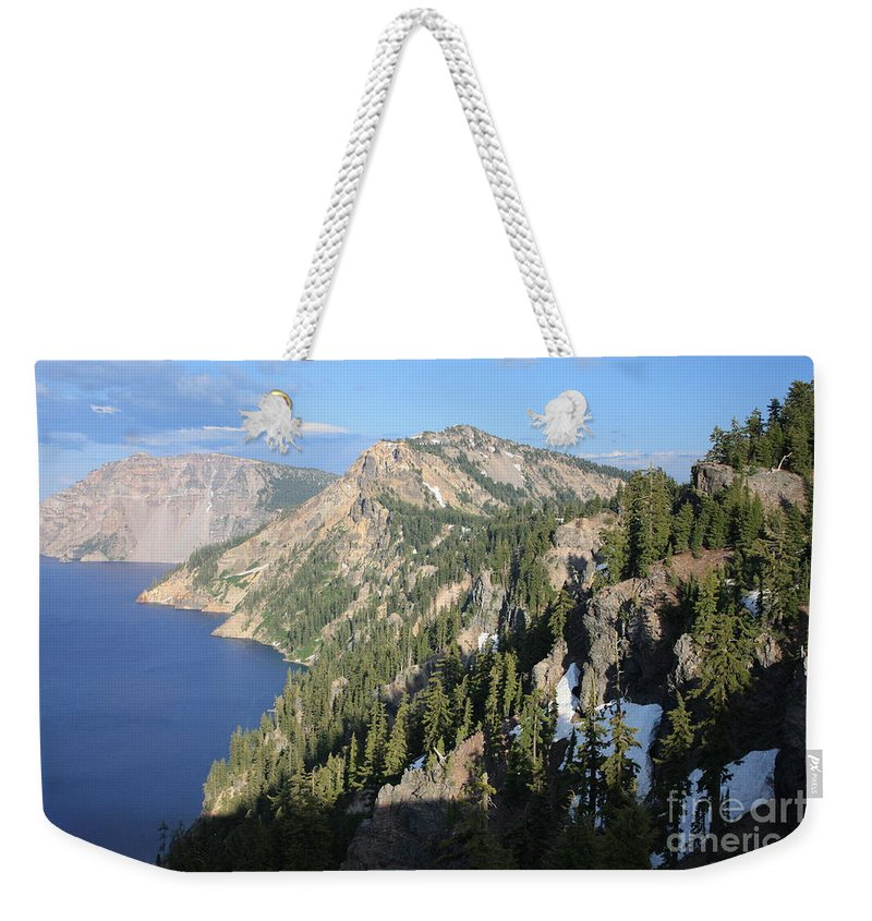Oregon Weekender Tote Bag featuring the photograph Mountains Around Crater Lake by Carol Groenen