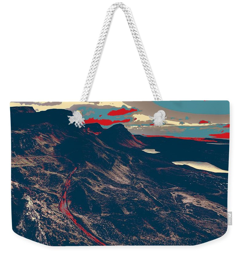 Nature Weekender Tote Bag featuring the painting Mountains By Red Road by Celestial Images