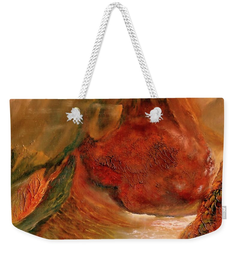 Henryk Weekender Tote Bag featuring the painting Mountains Fire by Henryk Gorecki