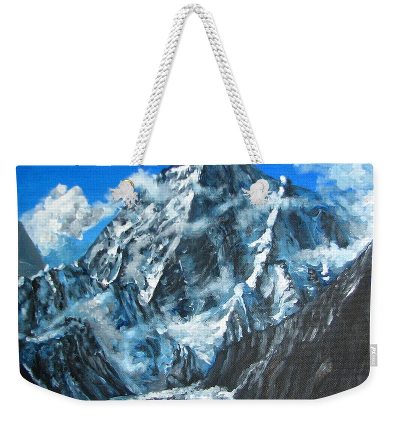 Mountains Weekender Tote Bag featuring the painting Mountains View Landscape Acrylic Painting by Natalja Picugina