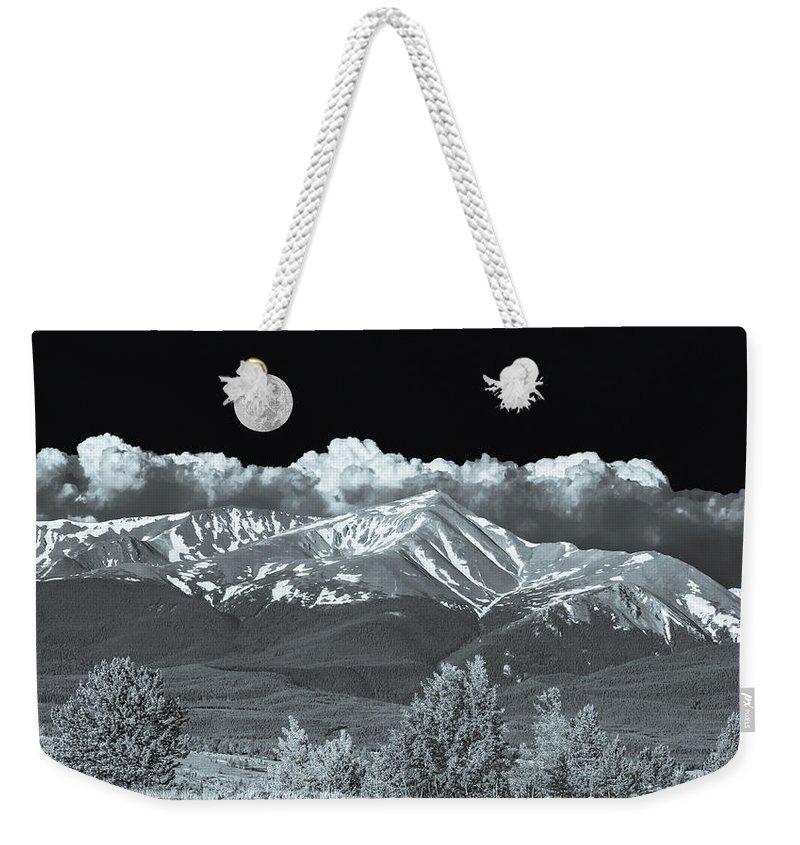 Mount Elbert Weekender Tote Bag featuring the photograph Mountains, When High Enough And Tough Enough, Measure Men. by Bijan Pirnia