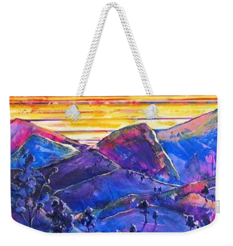 Mountains Weekender Tote Bag featuring the painting Mountainscape Blue by Rollin Kocsis