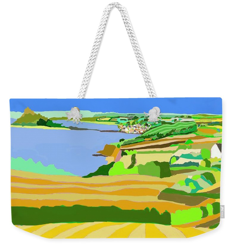 Mounts Bay Weekender Tote Bag featuring the digital art Mounts Bay Cornwall by Kevin Collins