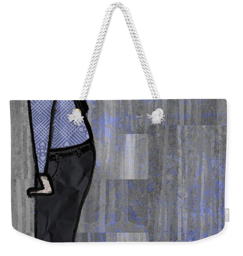 Salesman Weekender Tote Bag featuring the digital art Moustache Salesman by Kelly Jade King
