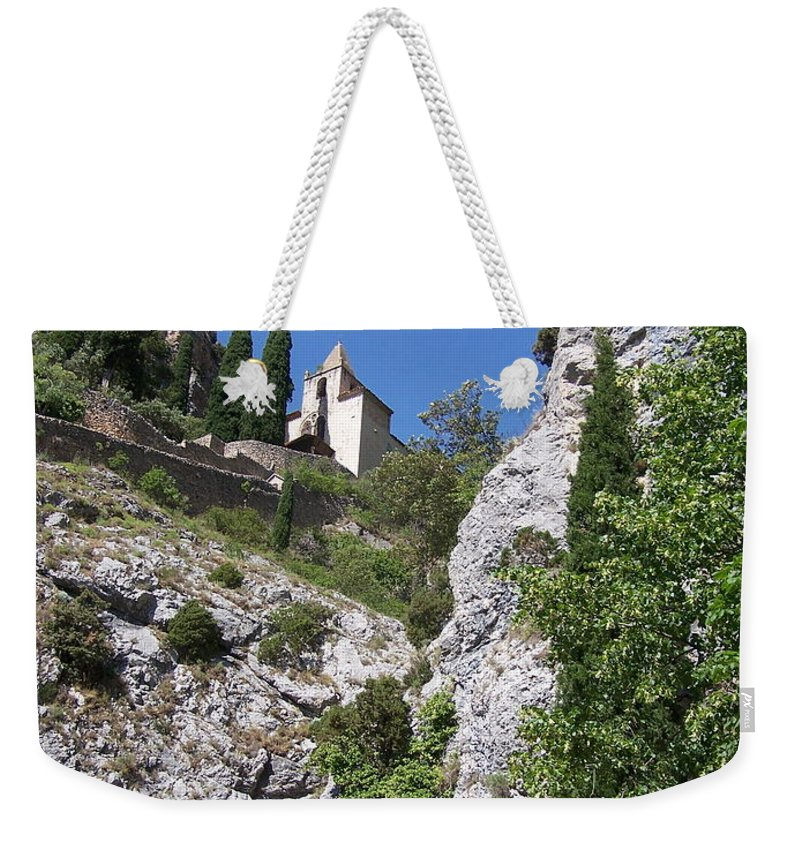 Church Weekender Tote Bag featuring the photograph Moustier St. Marie Church by Nadine Rippelmeyer