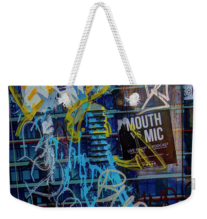 High Dynamic Range Weekender Tote Bag featuring the photograph Mouth Vs Mic by Dorothy Hilde