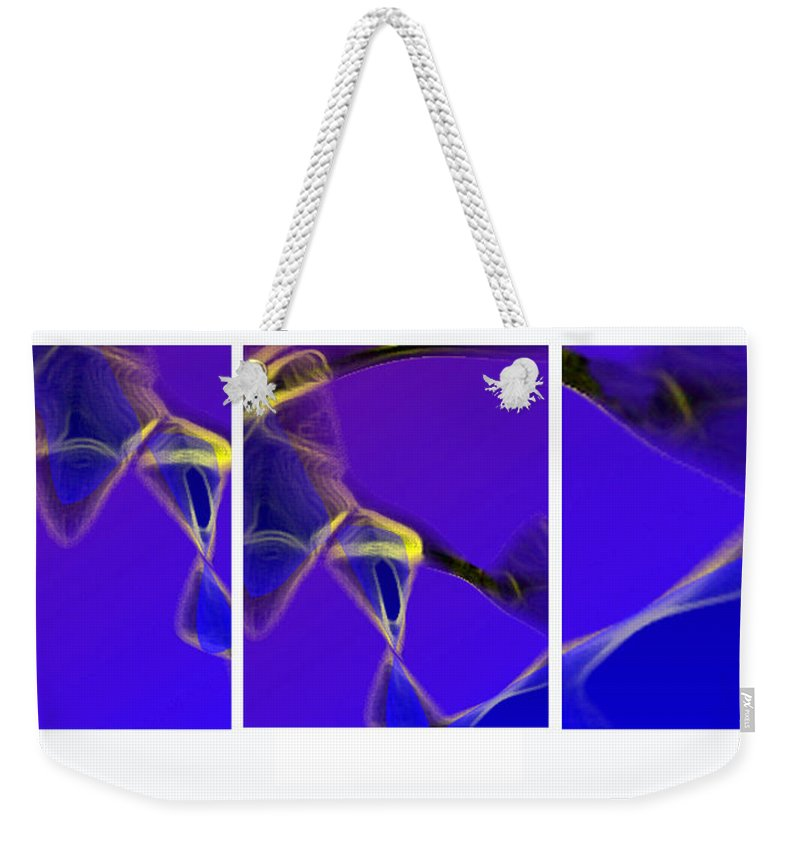 Abstract Weekender Tote Bag featuring the digital art Movement In Blue by Steve Karol