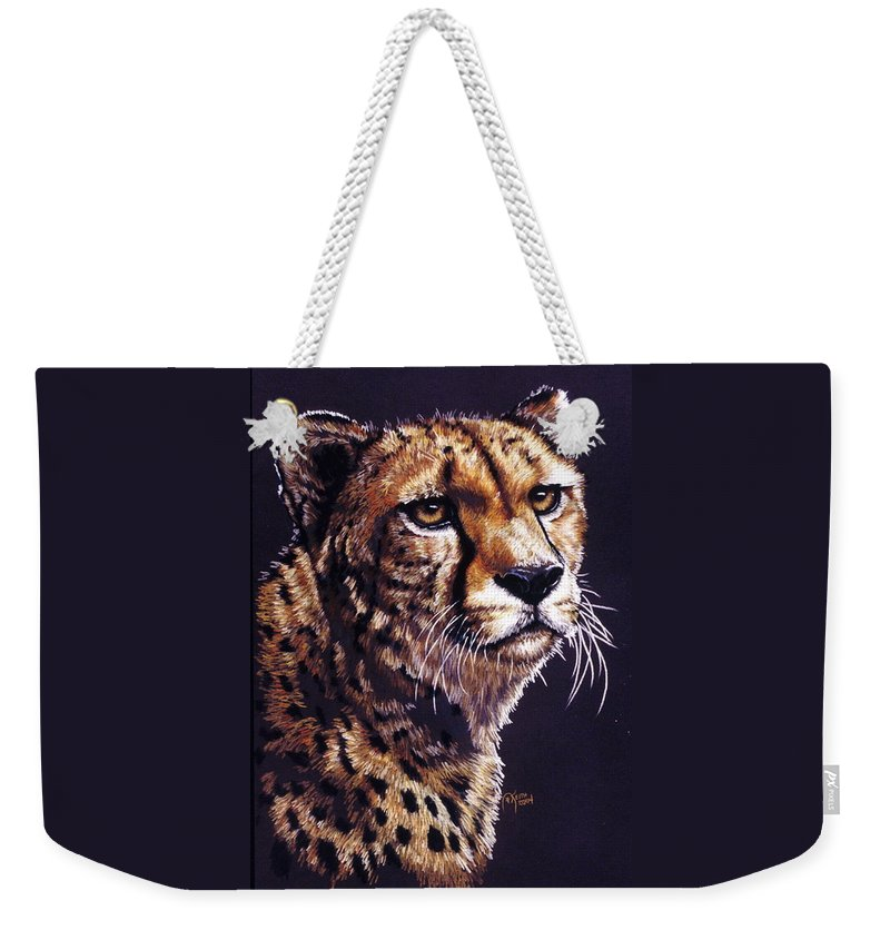 Cheetah Weekender Tote Bag featuring the drawing Movin On by Barbara Keith
