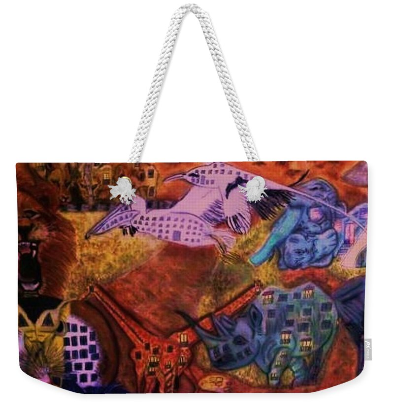 Safari Weekender Tote Bag featuring the pastel Moving Life by Leslye Miller