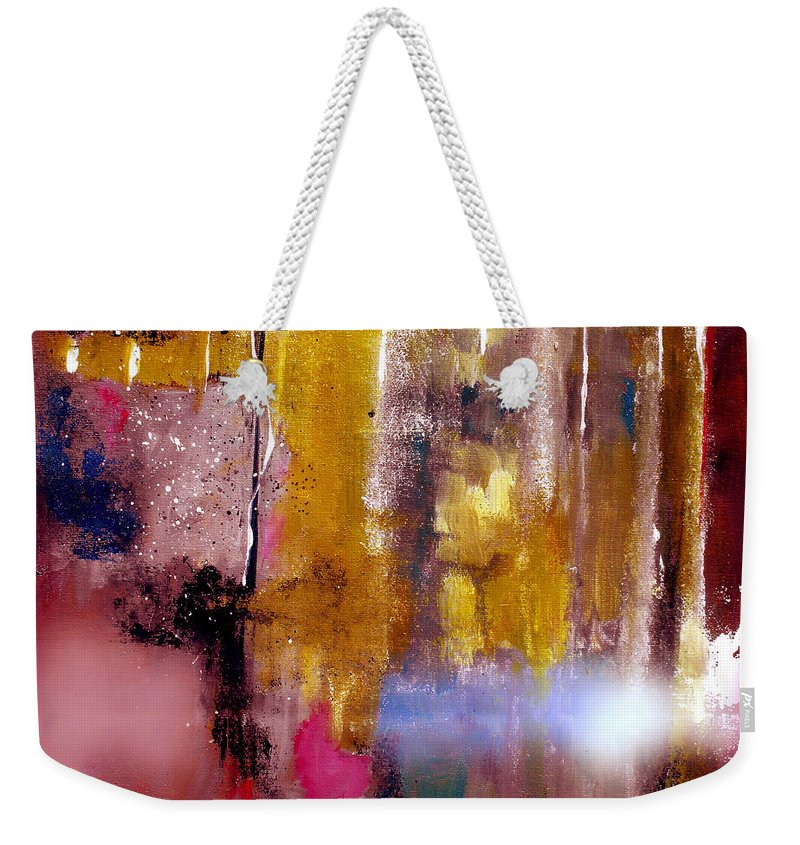 Abstract Weekender Tote Bag featuring the painting Moving Light by Ruth Palmer