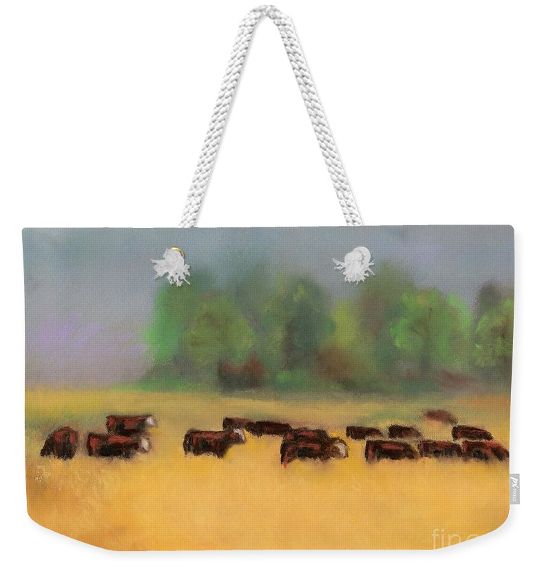 Cattle Weekender Tote Bag featuring the painting Moving On by Frances Marino
