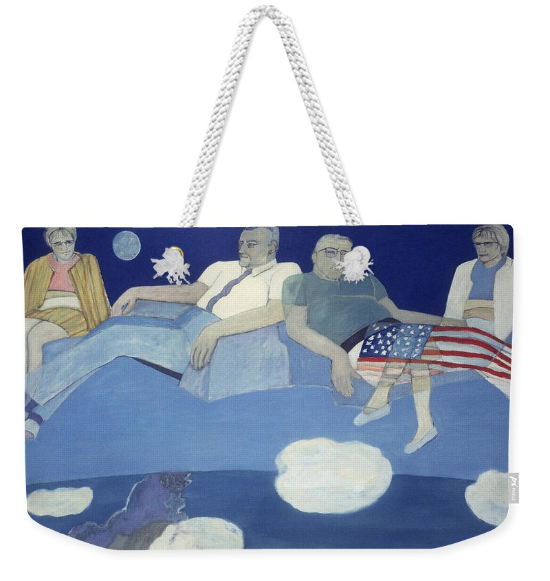 Imaginative Figurative Contemporary Weekender Tote Bag featuring the painting Mr And Mrs J L Butler Flying Over The Atlantic by Patricia Buckley
