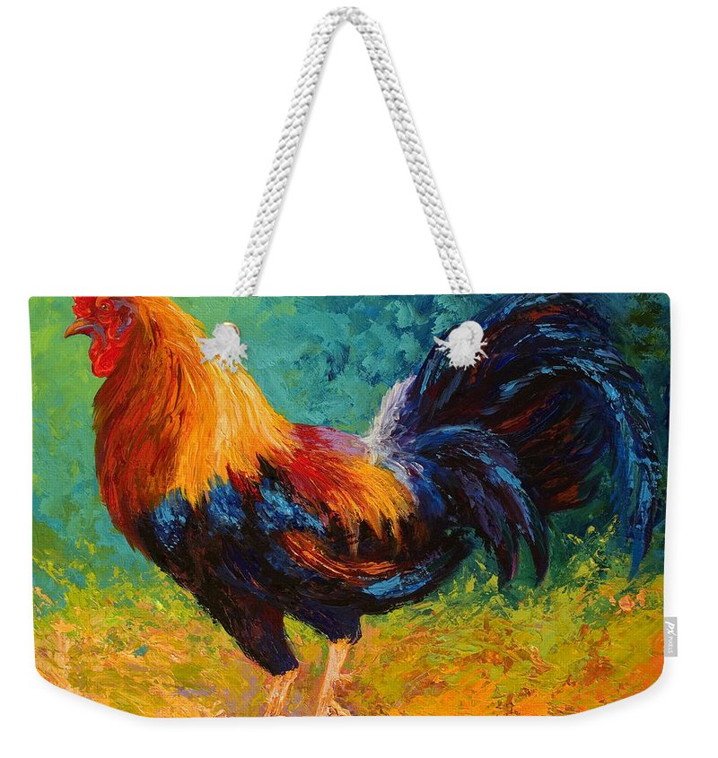 Rooster Weekender Tote Bag featuring the painting Mr Big by Marion Rose