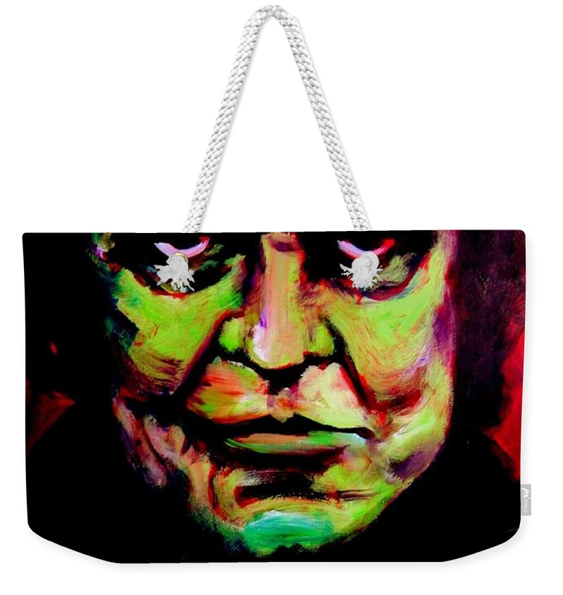 Portrait Weekender Tote Bag featuring the painting Mr. Cash by Jason Reinhardt