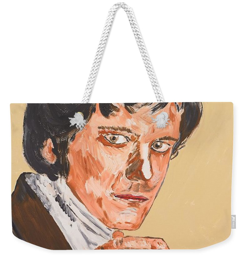 Darcy Weekender Tote Bag featuring the painting Mr. Darcy by Valerie Ornstein