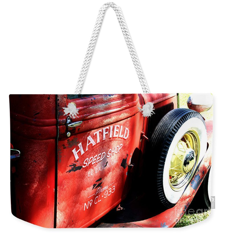 Portwashington Wisconsin Weekender Tote Bag featuring the photograph Mr. Fender by Jamie Lynn