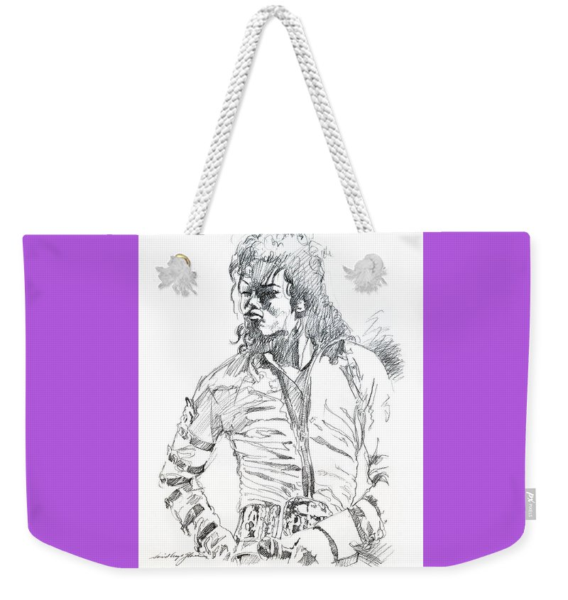 Michael Jackson Weekender Tote Bag featuring the drawing Mr. Jackson by David Lloyd Glover