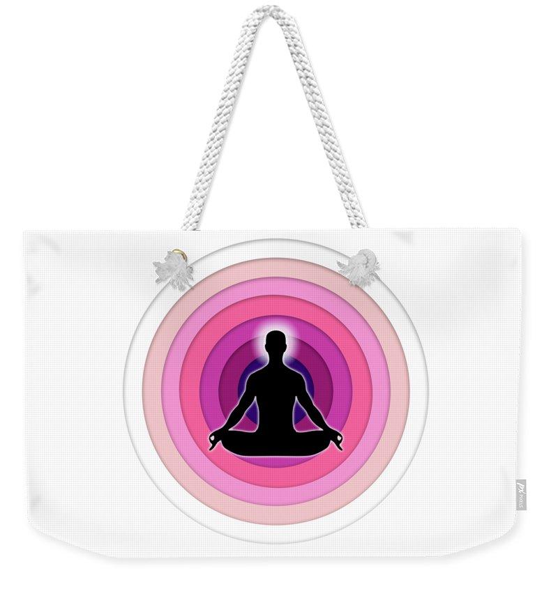 Yoga Weekender Tote Bag featuring the digital art Meditation With Yoga by Jayesh Vachhani