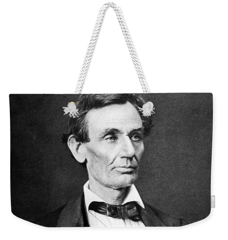 Abraham Lincoln Weekender Tote Bag featuring the photograph Mr. Lincoln by War Is Hell Store