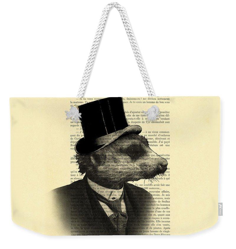 Meerkat Weekender Tote Bag featuring the digital art Meerkat Portrait In Black And White by Madame Memento