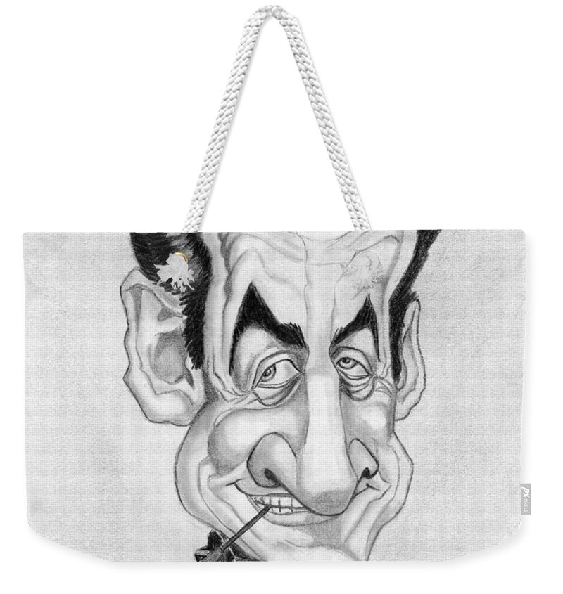Mr Nicolas Sarkozi Weekender Tote Bag featuring the drawing Mr Nicolas Sarkozi Caricatur Portrait by Alban Dizdari