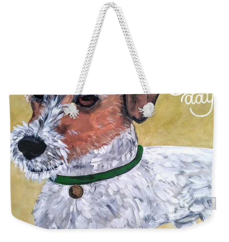 Dogs Weekender Tote Bag featuring the painting Mr. R. Terrier by Reina Resto