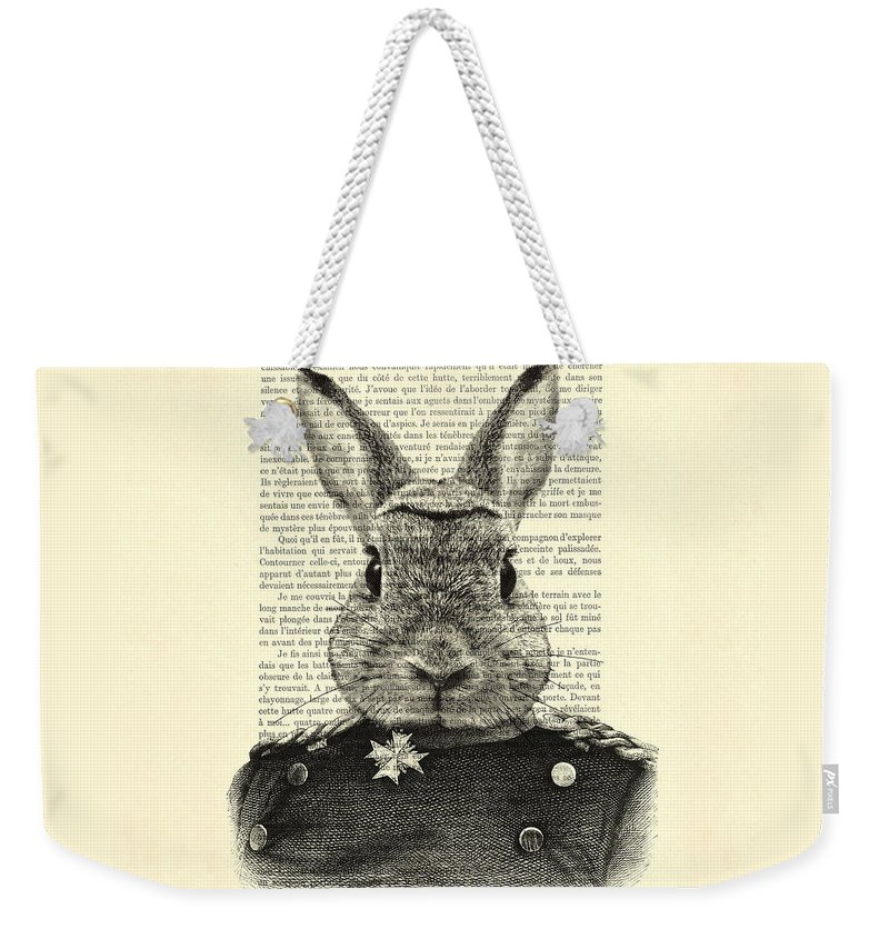 Rabbit Print Weekender Tote Bag featuring the digital art Rabbit Portrait In A Suit by Madame Memento