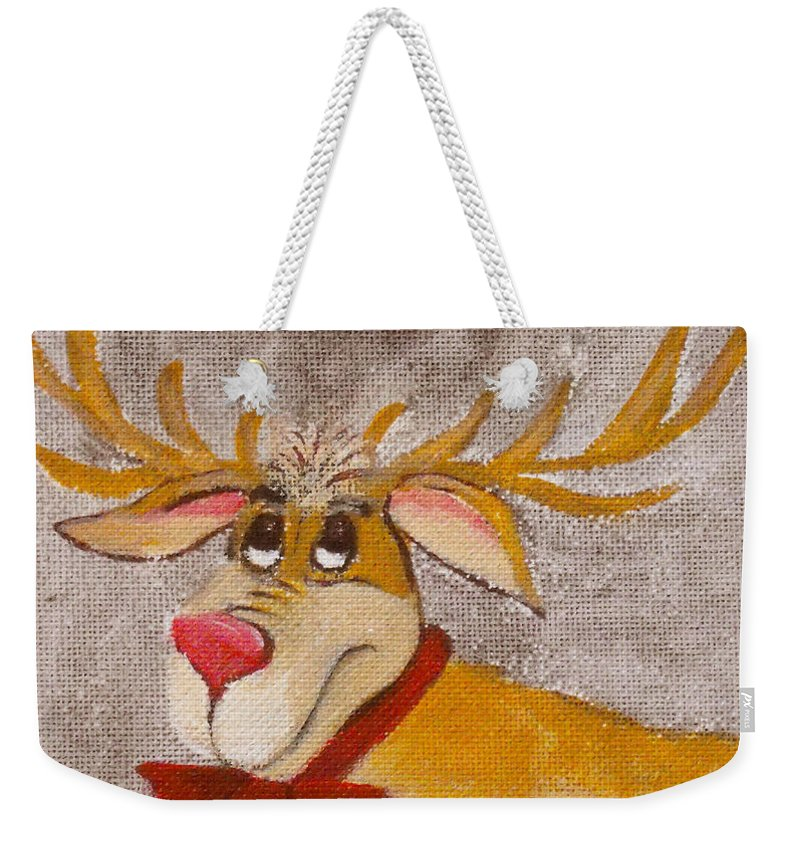 Animals Weekender Tote Bag featuring the painting Mr Reindeer by Ruth Palmer