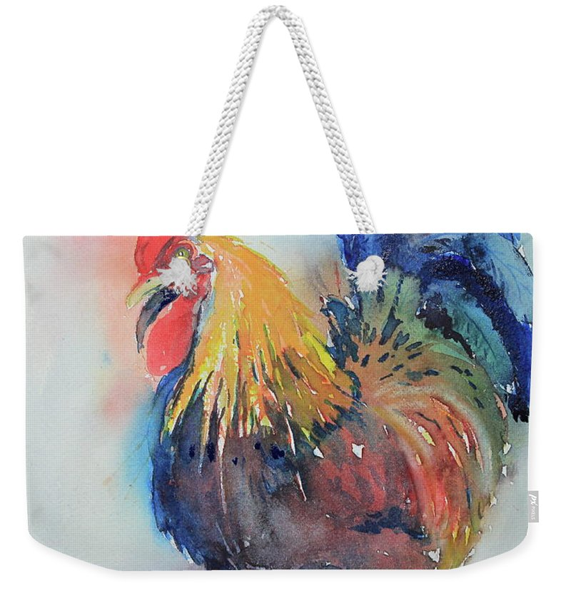 Rooster Weekender Tote Bag featuring the painting Mr Rooster by Marsha Reeves