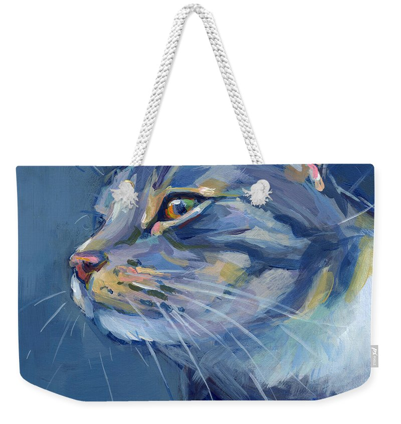 Gray Cat Weekender Tote Bag featuring the painting Mr. Waffles by Kimberly Santini