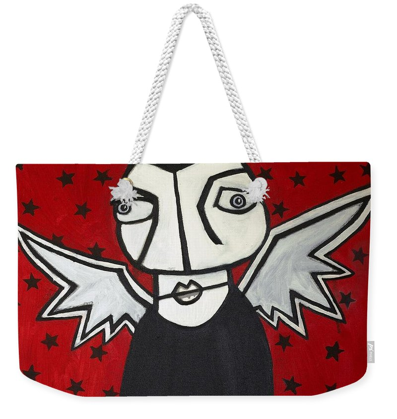 Clay Weekender Tote Bag featuring the painting Mr.creepy by Thomas Valentine