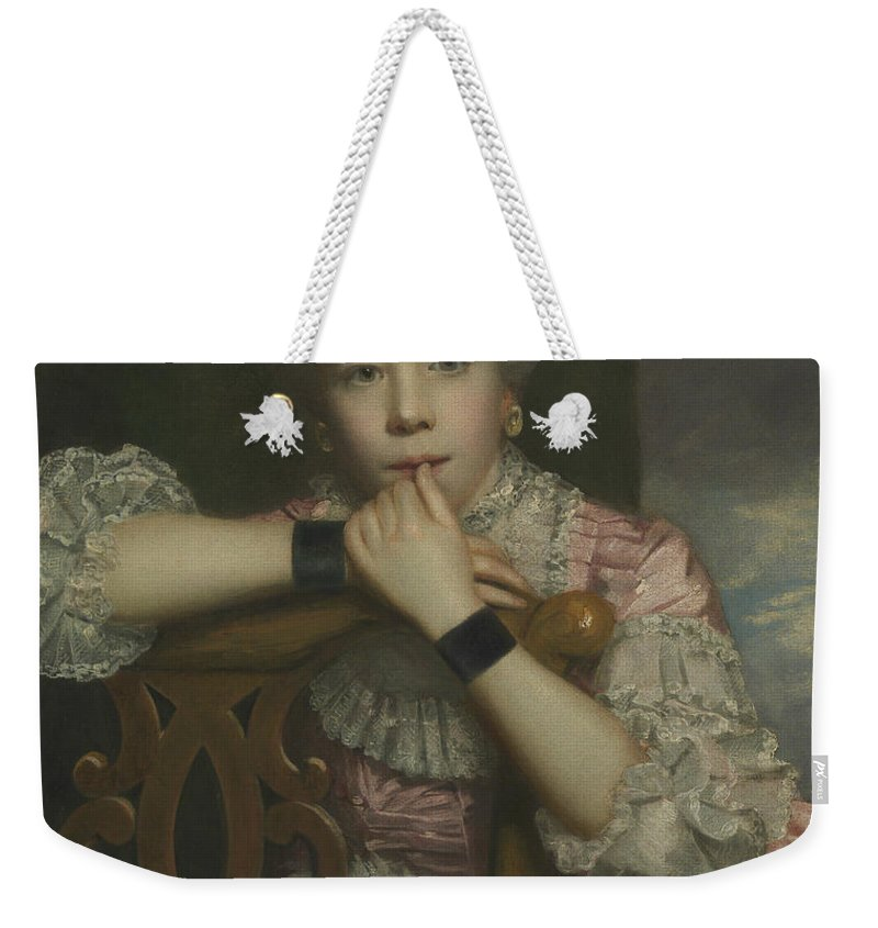 18th Century Art Weekender Tote Bag featuring the painting Mrs Abington As Miss Prue In Love For Love By William Congreve by Joshua Reynolds