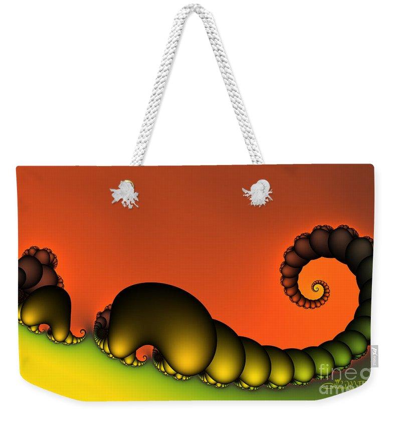 Fractal Weekender Tote Bag featuring the digital art Mrs. And Mr. Centipede by Jutta Maria Pusl