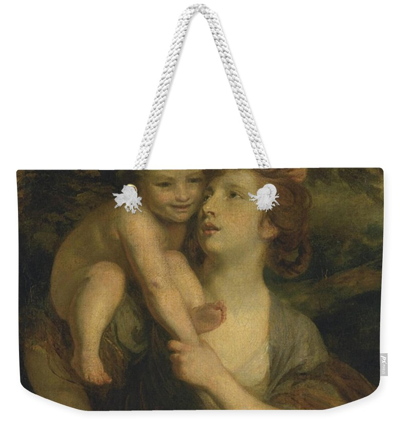 Sir Joshua Reynolds 1723–1792  Mrs Hartley As A Nymph With A Young Bacchus Weekender Tote Bag featuring the painting Mrs Hartley As A Nymph With A Young Bacchus by Sir Joshua Reynolds
