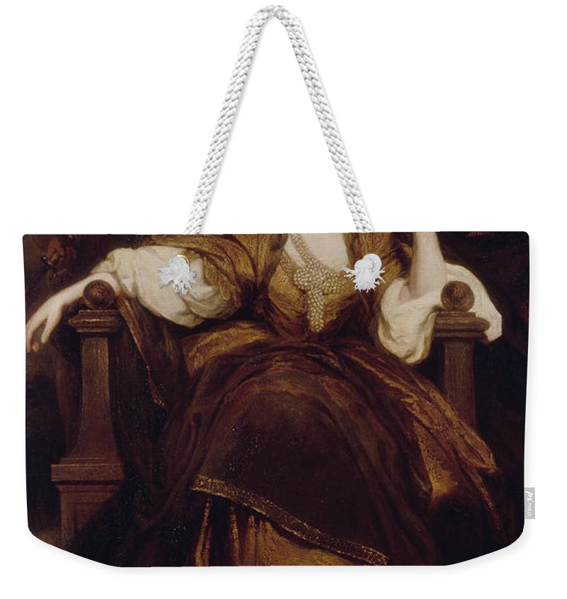 18th Century Art Weekender Tote Bag featuring the painting Mrs Siddons As The Tragic Muse by Joshua Reynolds