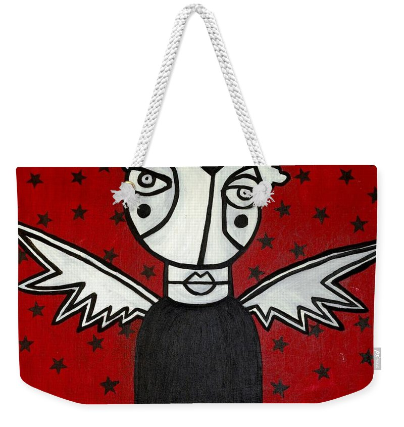 Potrait Weekender Tote Bag featuring the painting Mrs.creepy by Thomas Valentine